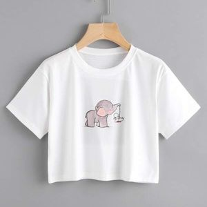 NWOT!! Elephant Graphic Boxy Cropped Tee